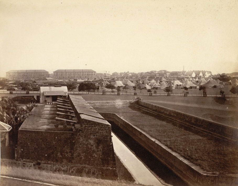 The Stranger's Lines, Esplanade, showing part of the old ramparts of the Fort, Bombay.